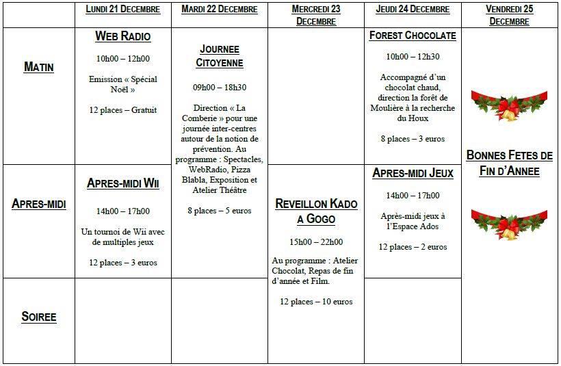 Top Vacances de fin d'année chez les Ados | Bienvenue au centre socio  CG39