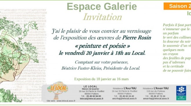 Vernissage de l'exposition de Pierre Rosin, vendredi 20 Janvier à 18h
