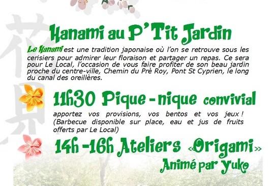 Hanami au P'tit Jardin du Local, dimanche 2 avril à partir de 11h30 jusqu'à 16h