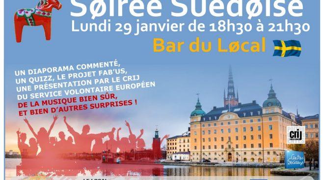 Lundi 29 janvier de 18h30 à 21h30 , Soirée Suédoise