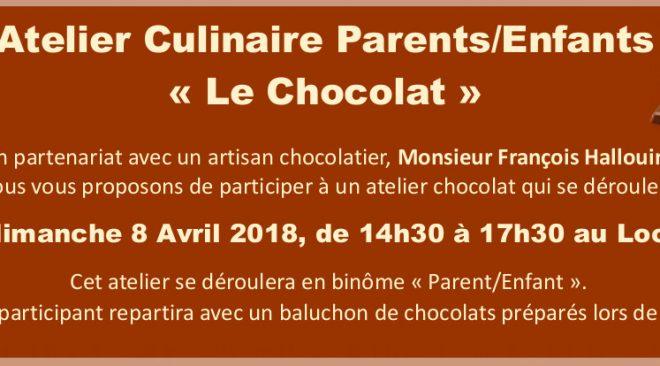 Dimanche 8 Avril de 14h30 à 17h30 : Atelier Culinaire Parents/Enfants  «Le Chocolat»