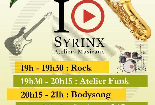Jeudi 3 mai à partir de 19h : Concert des Ateliers Musicaux Syrinx