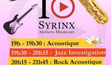 Jeudi 24 mai à partir de 19h : du Jazz et du Rock avec les Ateliers Musicaux Syrinx