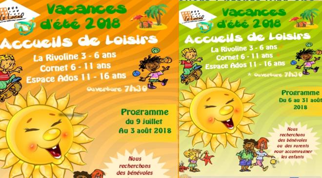 Programme des activités enfants et ados des Accueils de Loisirs du Local, juillet et août 2018.