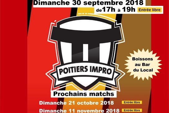 Dimanche 30 septembre 2018 :  Tournoi de matchs d'improvisation théâtrale