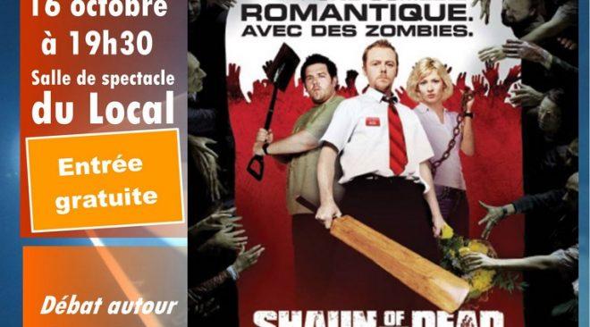 "Mardi 16 octobre 2018 à 19h30 : diffusion de la comédie ""Shaun of the Dead"""