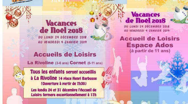 Programme des Accueils de Loisirs Enfants et Ados pour les vacances de Noël 2018