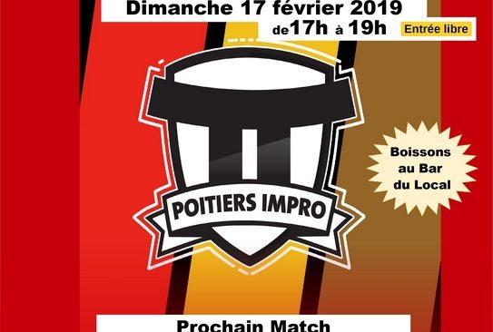 Dimanche 17 février 2019 de 17h à 19h : Match d'improvisation Théâtrale