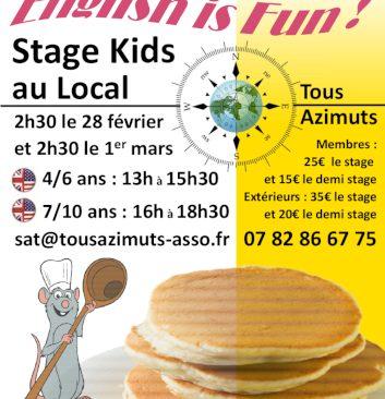 28 février et 1er mars : Apprendre l'anglais aux enfants et cuisiner des Pancakesavec l'association Tous Azimuts