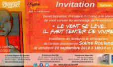Vendredi 20 septembre 2019 à partir de 18h30 : vernissage de l'exposition  de Soline