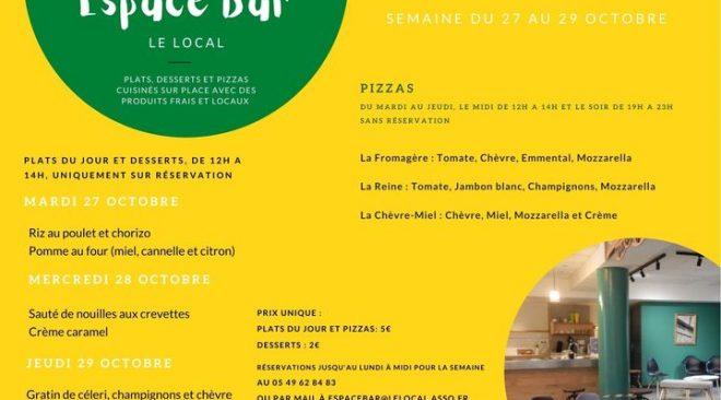 Espace Bar : les menus du 27 au 29 octobre et les pizzas