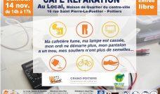 Samedi 14 novembre 2020 de 14h à 17h : Café Réparation au Local en Centre-ville
