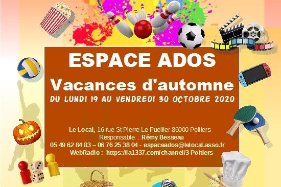 Programme des activités de L'espace ados durant les vacances d'automne 2020