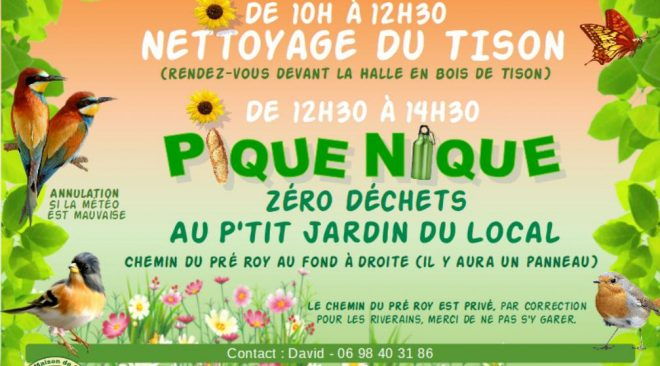 Dimanche 4 août 2019 : Nettoyage du Tison et Pique-nique zéro déchets au P'tit Jardin du Local
