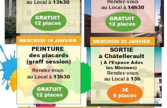 Espace Ados : programme des activités du mois de Janvier 2020