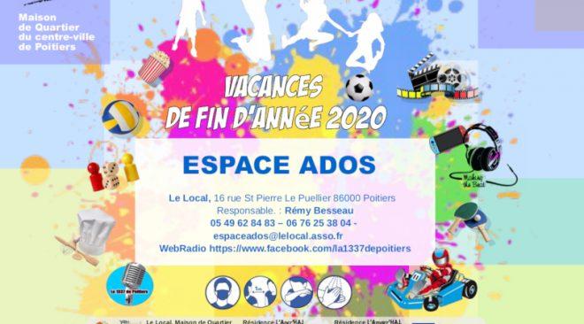 Programme des activités de L'espace ados durant les vacances de fin d'année 2020