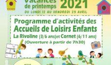 Programme d'activités des Accueils de Loisirs Enfants pour les vacances de printemps 2021