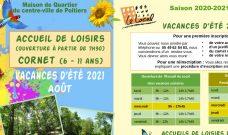 Programme des activités de L'Accueil de Loisirs Cornet pour le mois d'août 2021