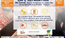 Samedi 11 septembre 2021 de 14h à 17h : Café Réparation au Local