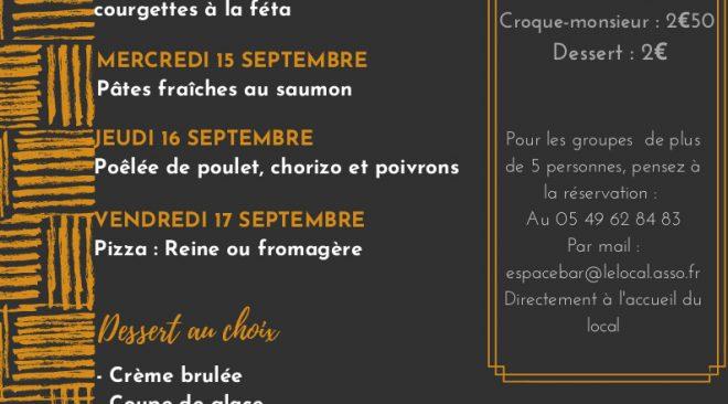 Restauration et snack à L'Espace Bar du Local : le menu de la semaine du mardi 14 au vendredi 17 septembre 2021